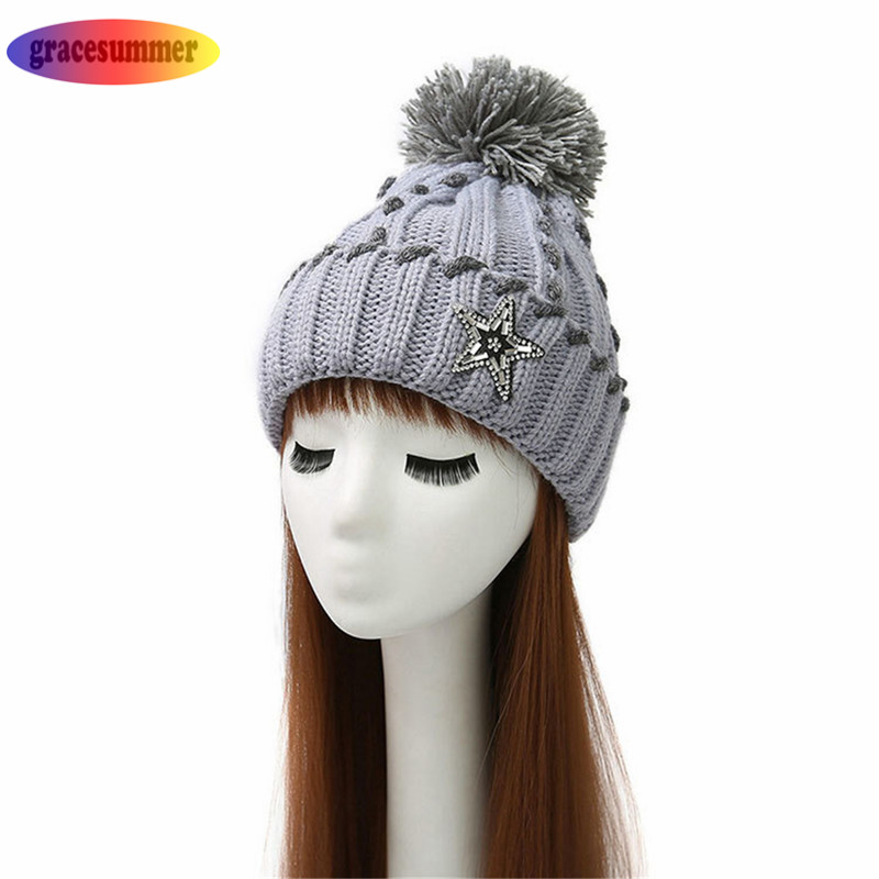 Women Beanies Poms Wool Hat Beanie Knitted Skullies 5 Pointed Star Sequins Caps Ladies Knit Cap Winter Hats For Women women bonnet beanie raccoon fur pom poms wool hat knitted skullies fashion caps ladies knit cap winter hats for women beanies