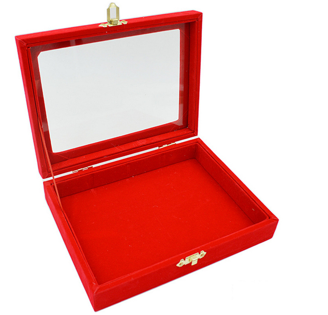 2016 Hot Sale High-end Bright Red Blank Panel Jewelry Box Glass Lid Jewelry Box Pendant Dustproof Plug Jewelry Box Free Delivery