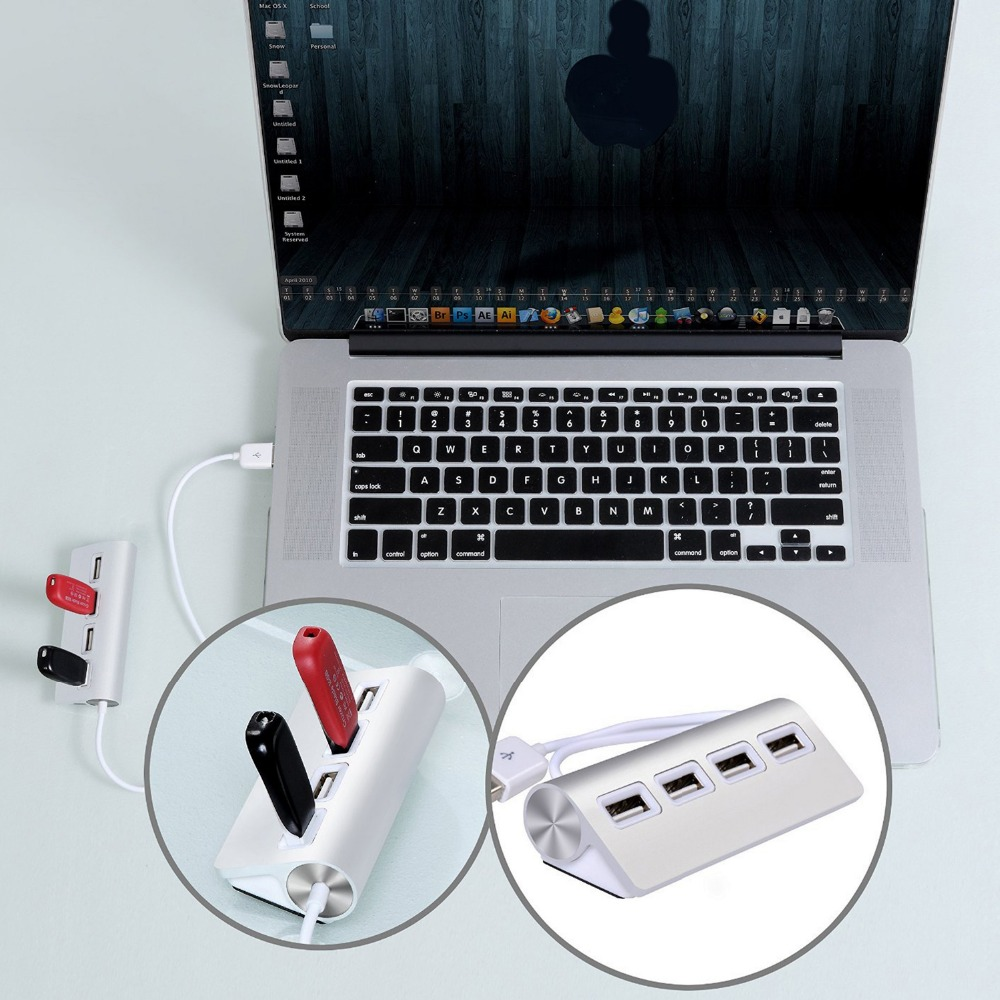 New 4 Port 20 Aluminum Usb Hub With Shielded Cable For Imac Kabel Touchpad 8pin 05 20cm External Hard Drives Mouse Keyboards Digital Cameras In Hubs From Computer Office On