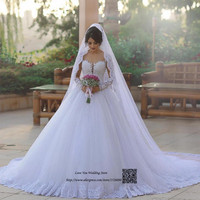 Vestido De Noiva Princesa Country Western Wedding Dresses Lace Long Sleeve Gowns Ball Gown Rustic