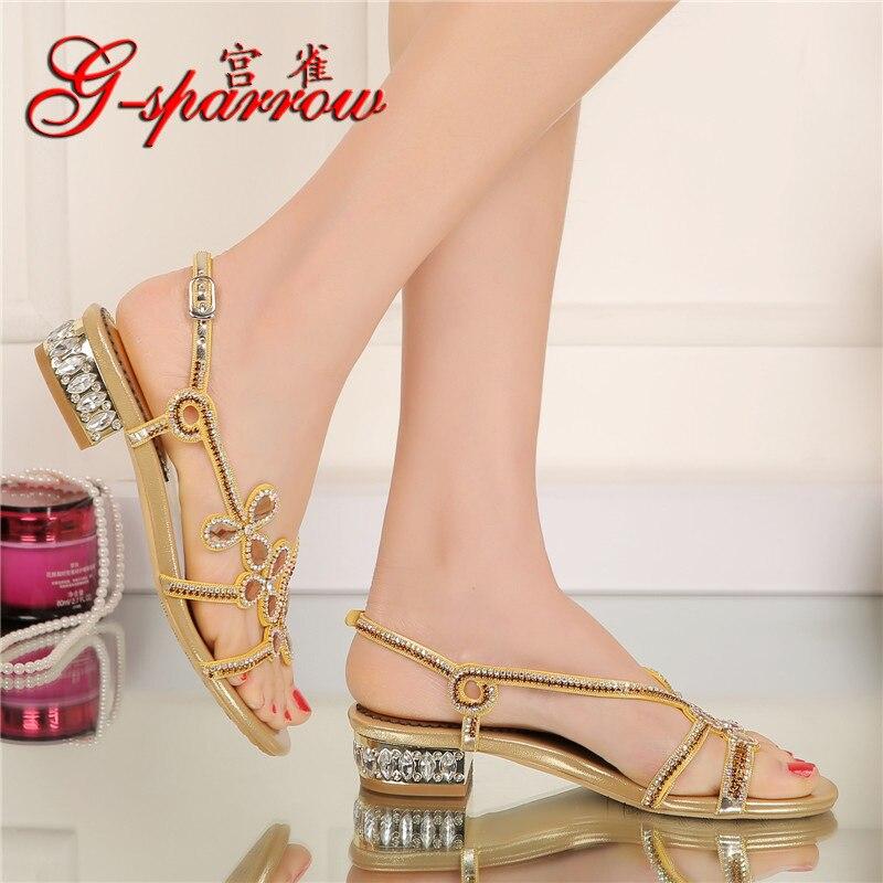 diamant braut frauen gold f schuhe flache neue sandalen sommer kristall 2017 elegante heels hochzeit I6b7gyYfv