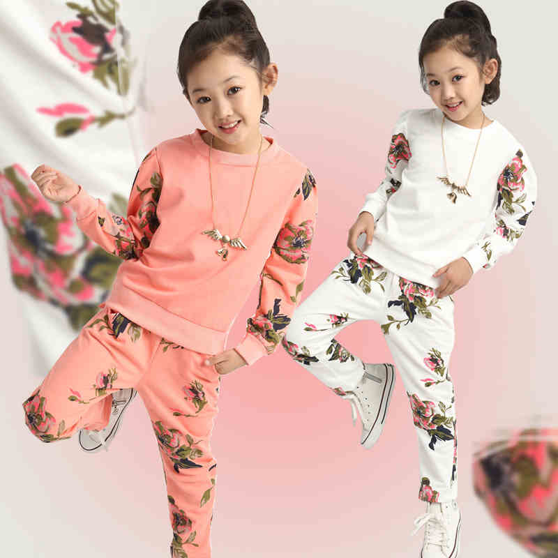 JENYA baby girls sport suit fashion floral t-shirt+pants 2pcs set casual children clothing set kids clothes hot sale 3-12Y