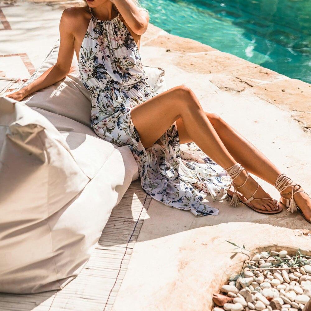 Boho women Long  Dress summer Floral Print Sleeveless dress Beach Maxi Dresses Sundress Chiffon Vintage