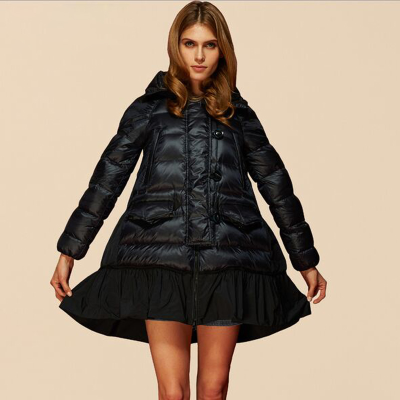 High Quality European Stars Fashion Designer 2018 Winter Jacket Women Parkas Cloak Skirt Style Real Duck   Down     Coats   Parka Hooded