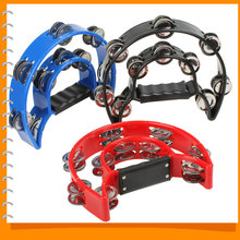 Handheld Tambourine Dance Double Row Metal Jingles Percussion Kids Plastic Toy Tambourine for Children Adult Musical Instrument