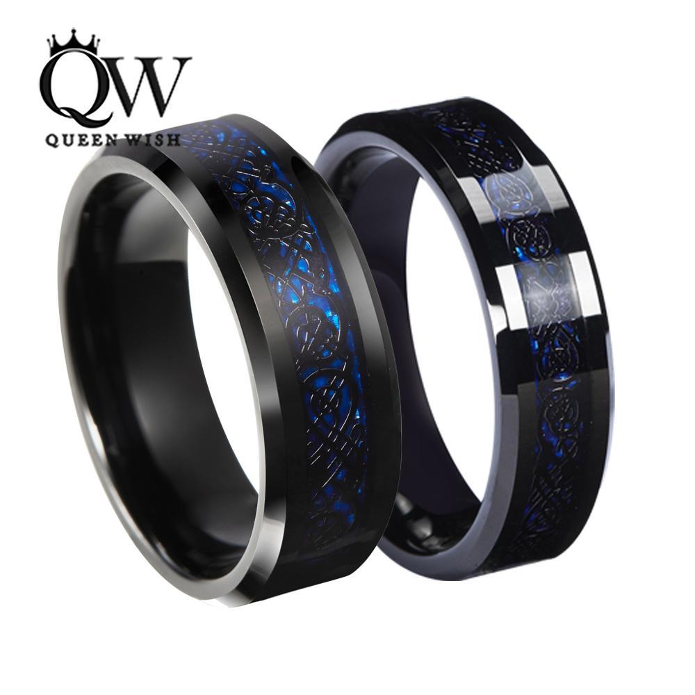 Queenwish Tungsten Carbide Ring Black Celtic Dragon Blue carbon fibre Mens Jewelry