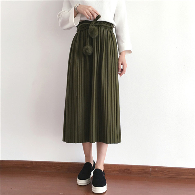 0646e0e9d0 2019 New Spring Korean Style Wool Thick Pleated Skirt Hairball Belt Faldas  Largas Elegantes 5 Colors Available Free Shipping
