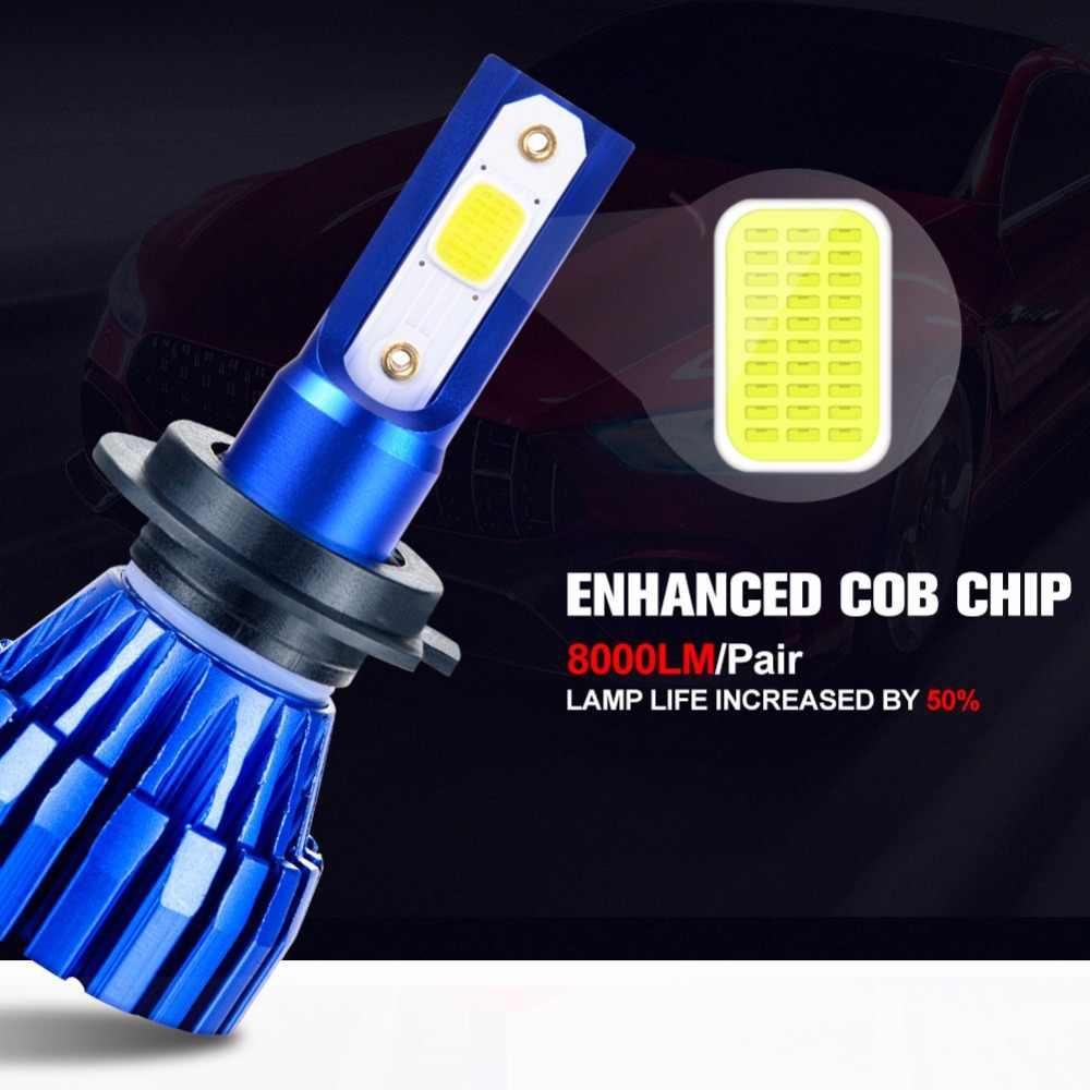 Aceersun LED H7 LED H4 LED פנס הנורה H4 8000LM H11 12 V H1 9005 9006 9012 24 V מיני h3 COB שבב 6500 K 4300 K ערפל אור Fanless