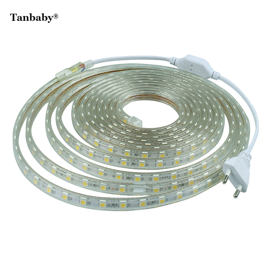 Tanbaby Led Strip 5050 220v With Power Plug 60 Led M Ip67 Waterproof Outdoor Home Decoration