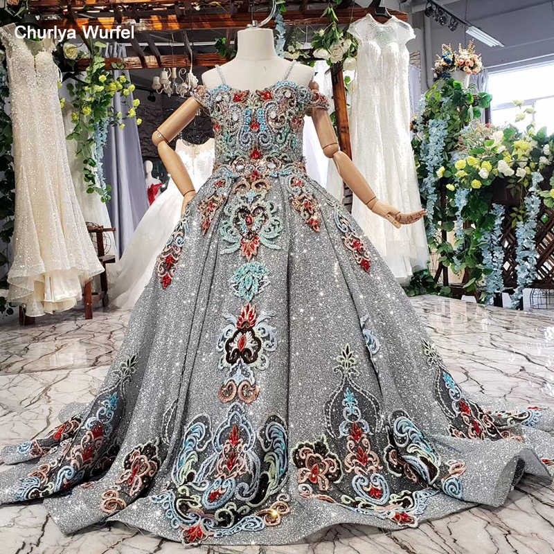 HTL0577 אפור ראשית הקודש שמלות עם נצנצים צבע חרוזים תחרות שמלות לנערות הורה-ילד vestido primera comunion