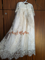 Stunning Beaded Lace Baby Girl White/Ivory First Communion Dresses Christening Gown Baptism Dress With Bonnet