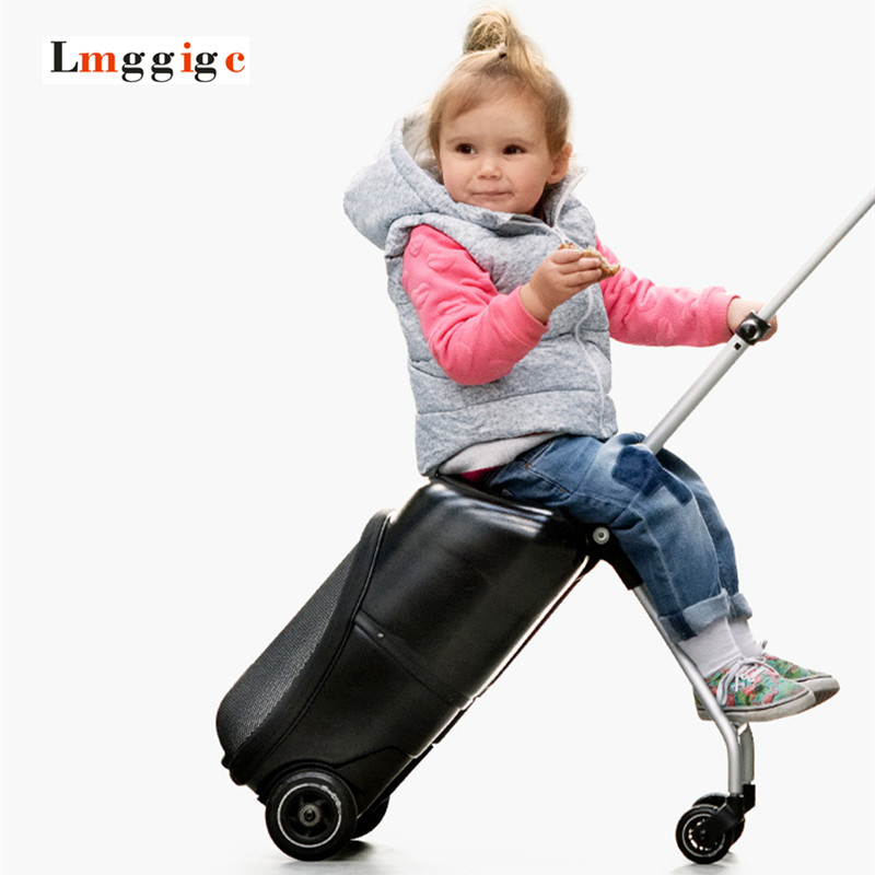 Can Ride Rolling Luggage,Children's carts Suitcase,Child Car Trolley Bag Carry On Travel Box,Kids Strollers,Portable drag boxes universal uheels trolley travel suitcase double shoulder backpack bag with rolling multilayer school bag commercial luggage