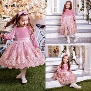 Платья с цветочным узором для девочек; вельветовые платья с длинными рукавами и аппликацией по колено; праздничная одежда для девочек; Детс...