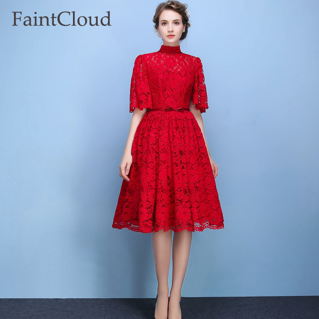 Fashion Red Black Butterfly Sleeves Evening Dress Three