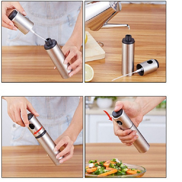 1PC Stainless Steel Olive Pump Spray Bottle Oil Sprayer Oiler Pot BBQ Barbecue Cooking Tool Can Cookware kitchen