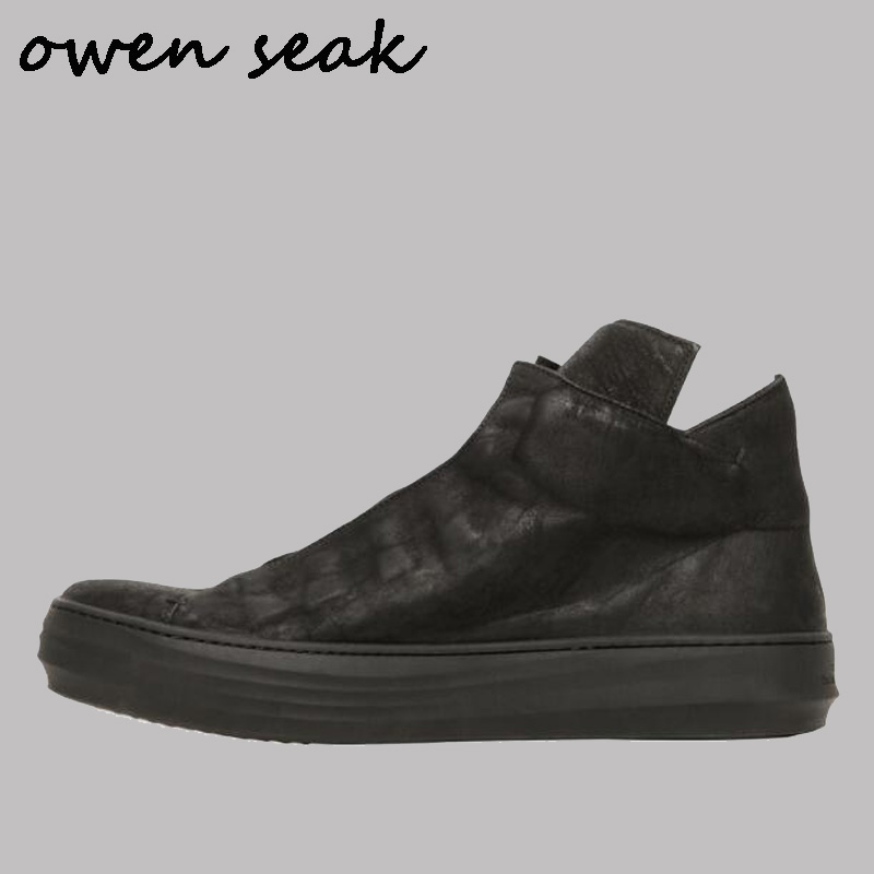 Owen Seak Men Shoes High TOP Ankle Boots Genuine Leather Sneaker Luxury Trainers Villus Boots Casual