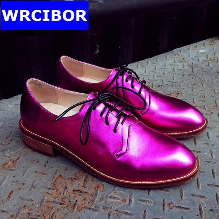 font b Women b font Genuine leather Vintage Flat Oxford Shoes font b Woman b