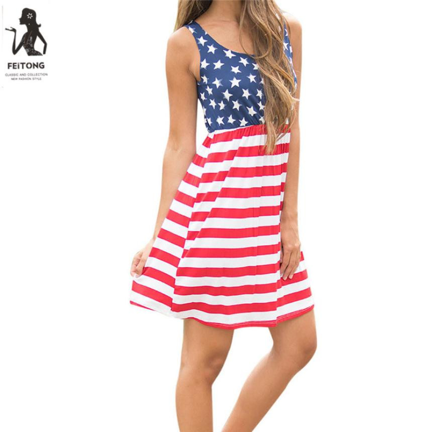 Fashion Women Casual Dresses Summer Ladies Sleeveless American Flag Print Dresses Girls Womens Sexy A-Line Beach Mini Dress #YL