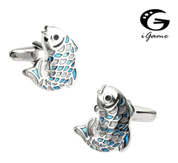 IGame Designer Cuff Links Quality Brass Material Unique Blue Fish Carp Design Free Shipping