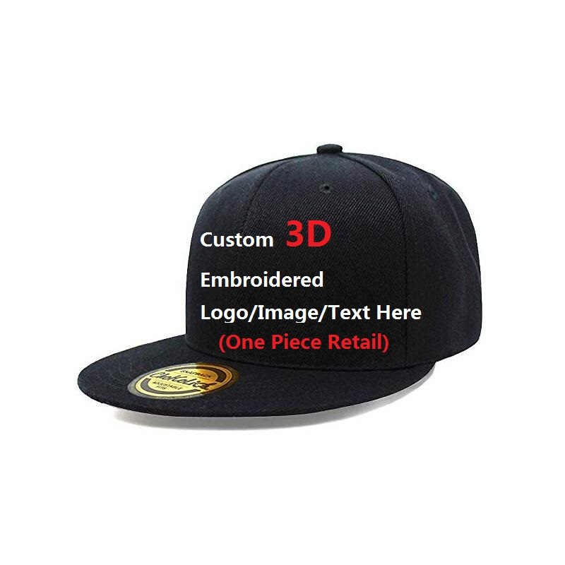 Custom Your Own Text logo/ picture/ image 3D Thicker Embroidered Snapback Cap Customized Hat No MOQ one Piece Cap Order Retail-in Men's Baseball Caps from Apparel Accessories on AliExpress