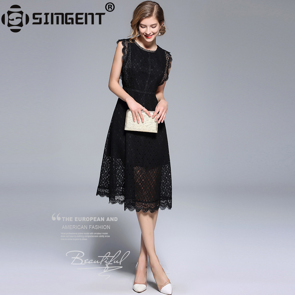 Simgent Women Elegant Mesh Patchwork Black Lace Dress Autumn O-Neck Sleeveless Lady Party Dress Vestidos Robe Dentelle SG87183