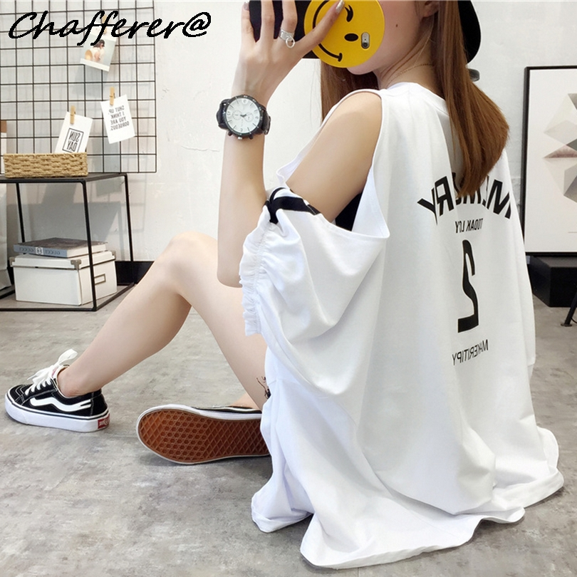 Chafferer Fashion Loose Off Shoulder Tshirt Women Summer Korean Students Batwing Sleeve T-Shirt Plus Size Hollow Out Letter Top