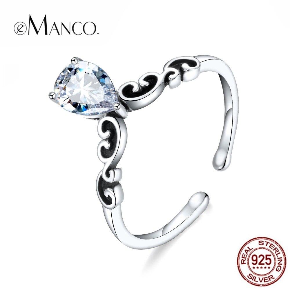 42095032606 EManco 925 anillos ajustables de plata para mujeres pequeños anillos lindos  naturales recién llegados joyería accesorios de moda