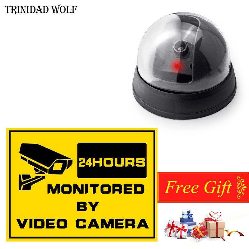 Trinidad Wolf Fake dome camera indoor/outdoor Surveillance Dummy Wireless home CCTV Security Simulated Camera+Free Gift wireless fake camera led surveillance motion detection security cctv dummy cam for safety free shipping