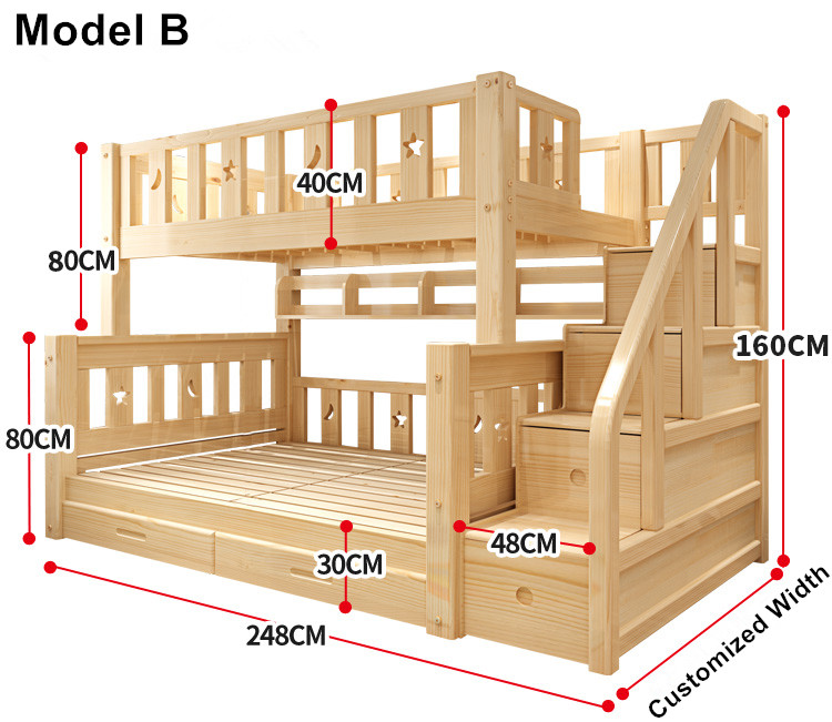 Louis Fashion Children Bunk Bed Real Pine Wood With Ladder Stair Drawers Safe And Strong In Beds From Furniture On Aliexpress Alibaba Group