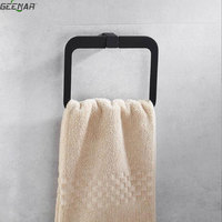 Nordic simple black towel ring bathroom towel ring creative four party towel ring ring rubber lacquer bathroom accessories