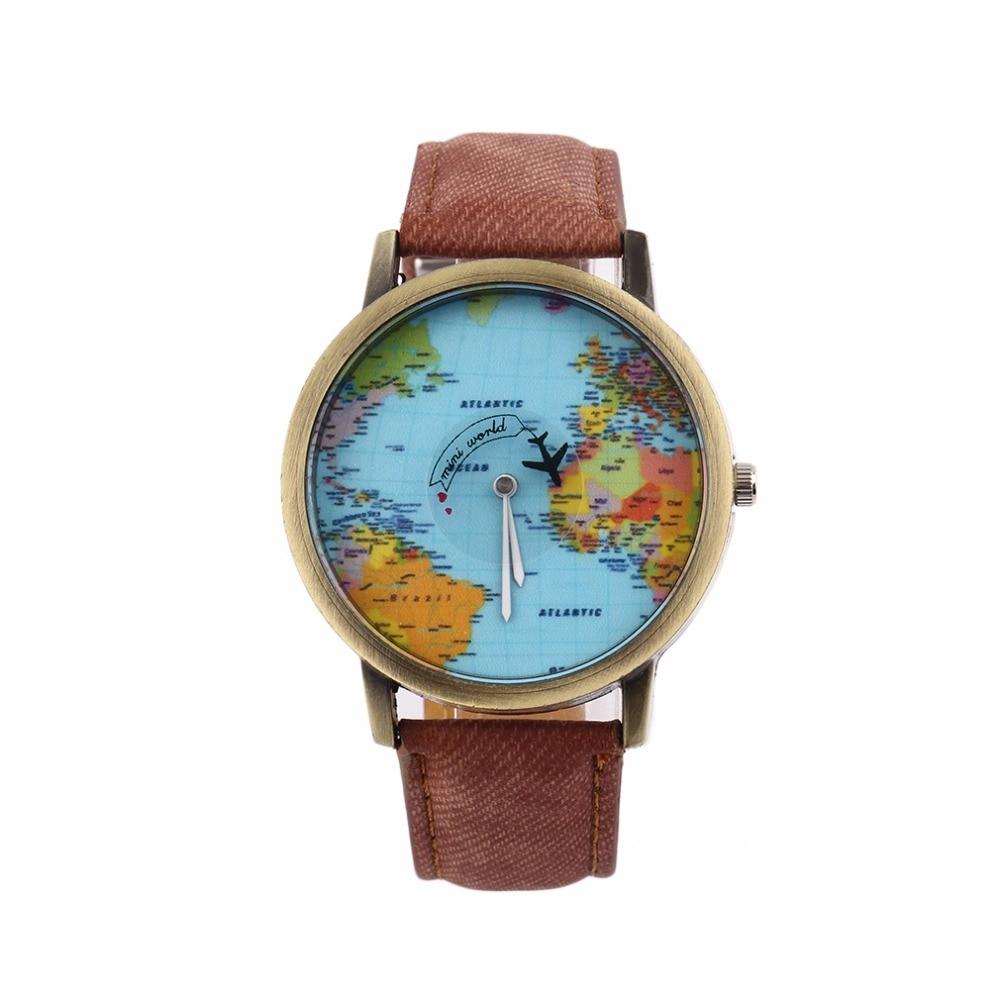 Women Pattern World Map Watch Men Quartz Faux Leather Analog Wrist 2018 Watches Casual New watch female Relogio Feminino