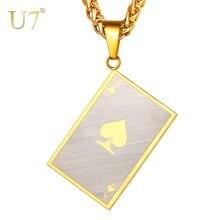 U7 ожерелье матовая покерная Лопата ace из нержавеющей стали