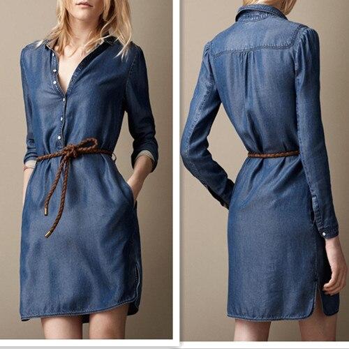 69c92f3f82d 2013 Fashion Style Slim Jeans Summer Dress Women s Denim Dress Sashes Thin  Blue Solid Long Sleeve Free Shipping Good Quality