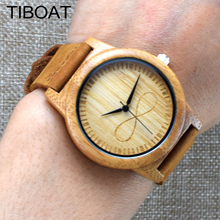 TIBOAT Fashion Luxury Men's Women's Bamboo Wood Watch Quartz Genuine Leather Wristwatches de madera reloj de pulsera