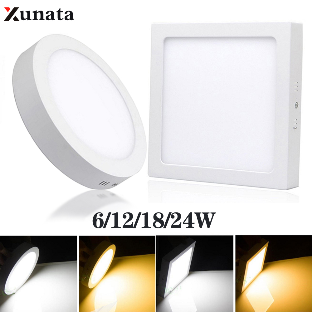 Square/Round 3CM Ultra-thin LED Ceiling Light IP65 Waterproof LED Panel Lamp Modern Spotlight Home Bathroom Lighting 6W 12W 24W