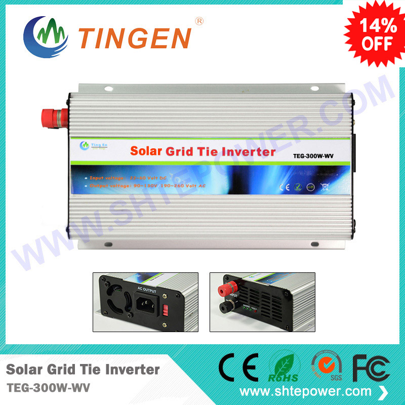 300w grid tie solar controller inverter mppt pure sine wave ac output can adjustable 90-130v to 190-260v dc input 22-60v 300w solar grid on tie inverter dc 10 8 30v input to two voltage ac output 90 130v 190 260v choice