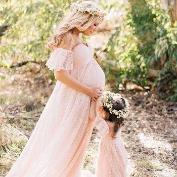 Femmes enceintes Photo tir robe col en v épaule dénudée à volants manches dentelle maternité robe Maxi photographie accessoires robes