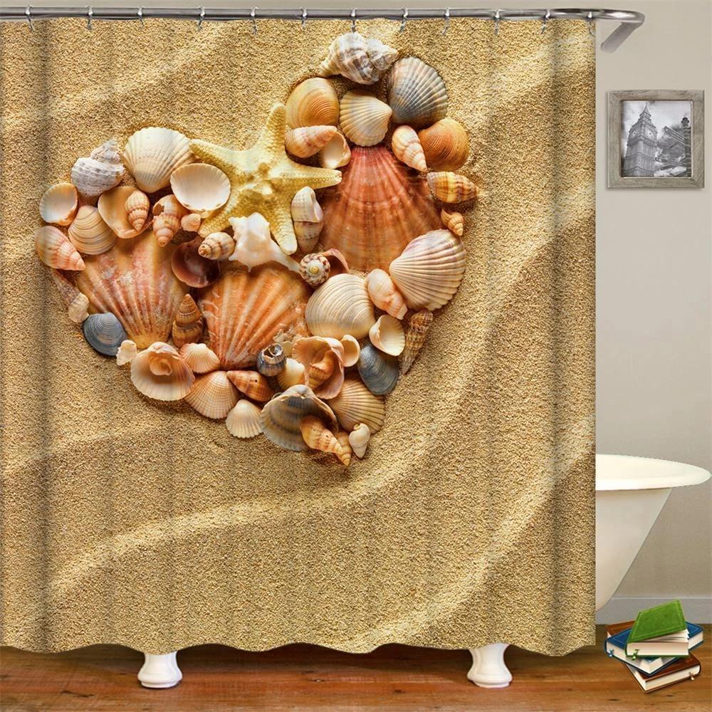 beige shower curtain nautical beach tropical hawaiian seashells seaside sea stars sand theme art print fabric bathroom curtains