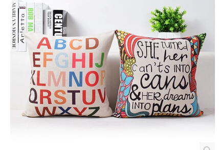 Wholesale British style minimalist Pillow Home Decor European and American modern Cushion Cover English literature Pillow Case