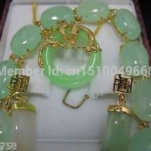 Горячая Распродажа > очаровательный комплект ювелирных изделий зеленый нефрит браслет серьги кулон