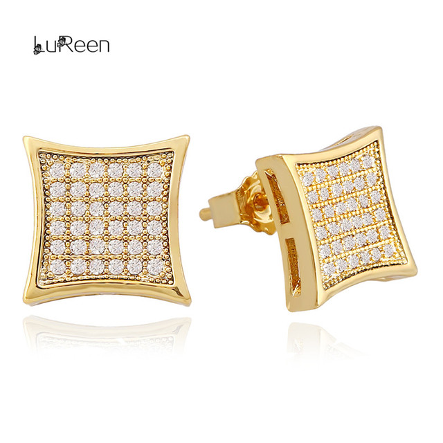 Lureen Hip Hop Gold Silver Earrings Men Rhinestone Micro Pave Cz Square Shape Stud For