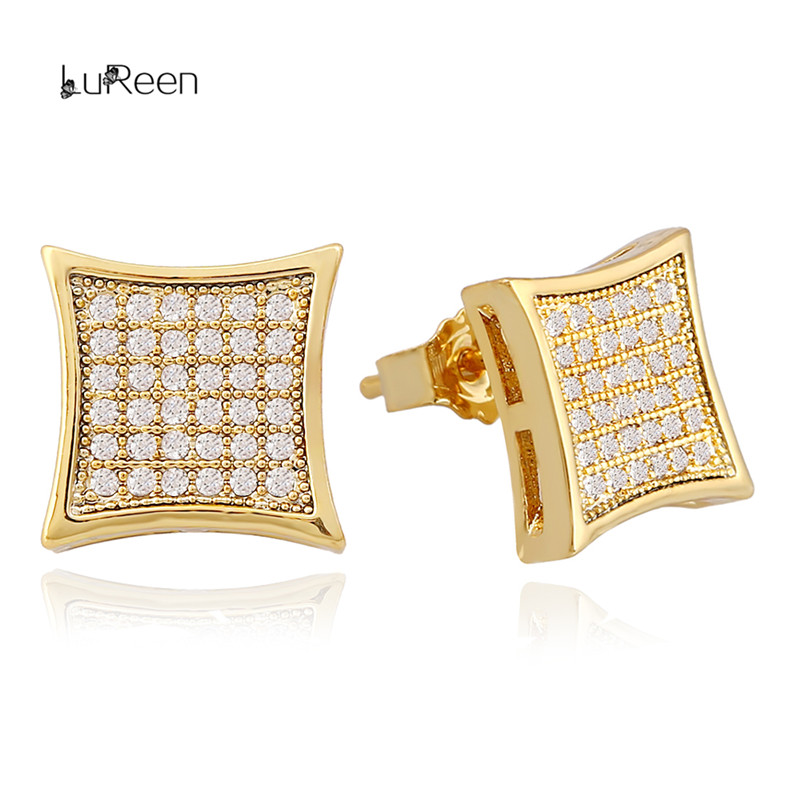 LuReen Hip Hop Gold Silver Earrings Men Rhinestone Micro Pave Cz Square Shape Stud Earrings For Women Jewelry Gifts LE0190