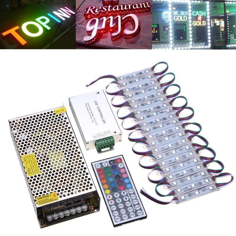 100pcs/200pcs RGB LED Module 12V 3 LED Module Light 5050 SMD Store Fornt light With Mini 44Key IR Remote