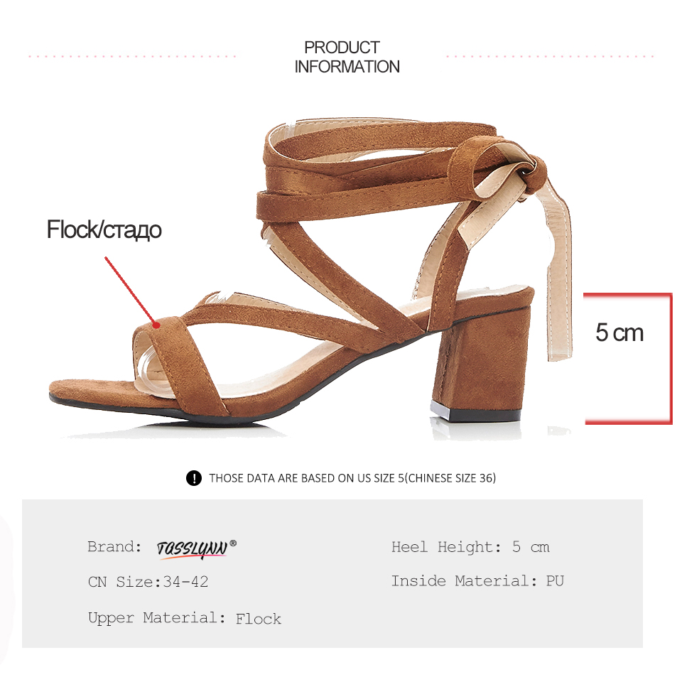 TASSLYNN 2019 Women Sandals Sexy Tassels Lace Up Square High Heels Summer Shoes Comfortable Flock Strap Simple Shoes Size 34 43 in High Heels from Shoes