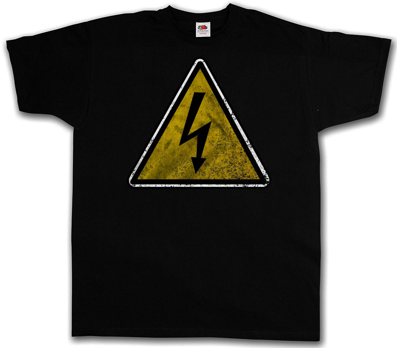 С принтами футболки короткий рукав внимание высокое Напряжение Винтаж Логотип Знак Футболка Ac Dc Предупреждение электричество