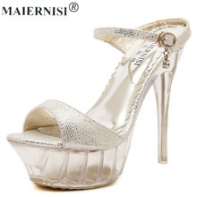 2017 summer Platform sexy clear pvc strappy sandal holiday Shoe for Women Large Size 43 42 9 High heel Big Pump Lady female Plus