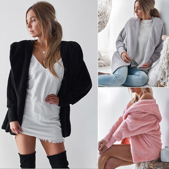Women Wool Cashmere Coat Jacket Long Sleeve Thick Warm Overcoat Outwear Autumn Winter Hooded Cardigans Coats Gray Pink