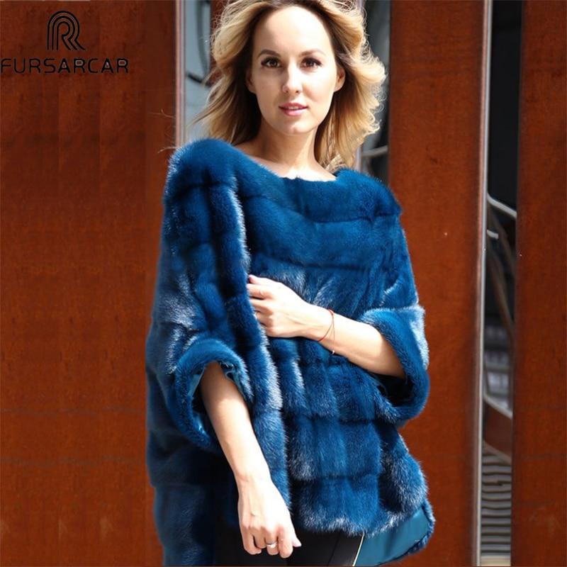 FURSARCAR lujo mujer visón Real abrigo de pieles genuino Poncho Natural chaqueta de invierno para mujer Full Pelt piel verdadera del Cabo capa del mantón