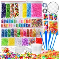 New 72 Pack Making Kits Supplies for Slime, Including Foam Balls, Fishbowl Beads, Net, Glitter Jars, Pearls, Sugar Paper, Spoon