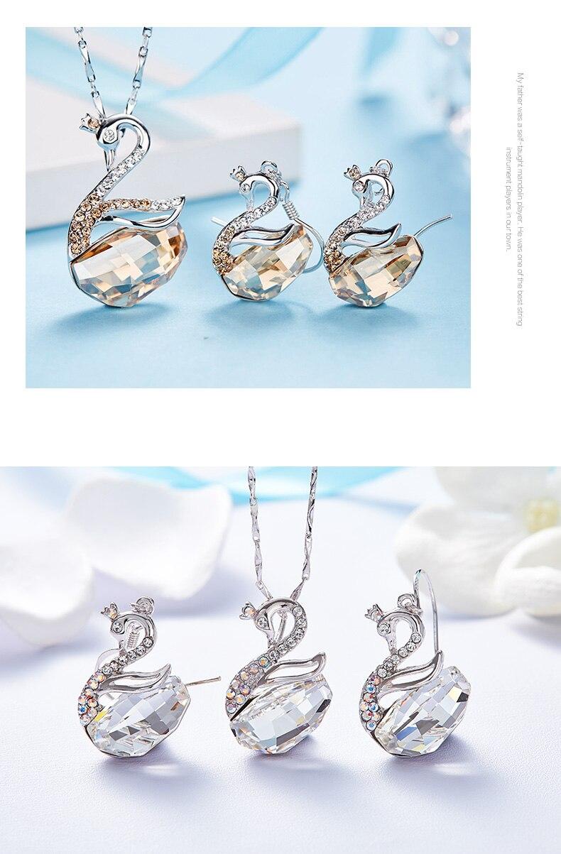 Swarovski Swan Necklace Earrings Set (16)